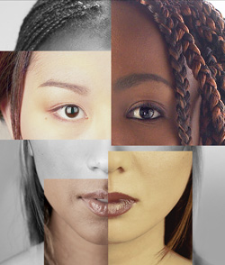 Face with sections that represent varied races, sexes