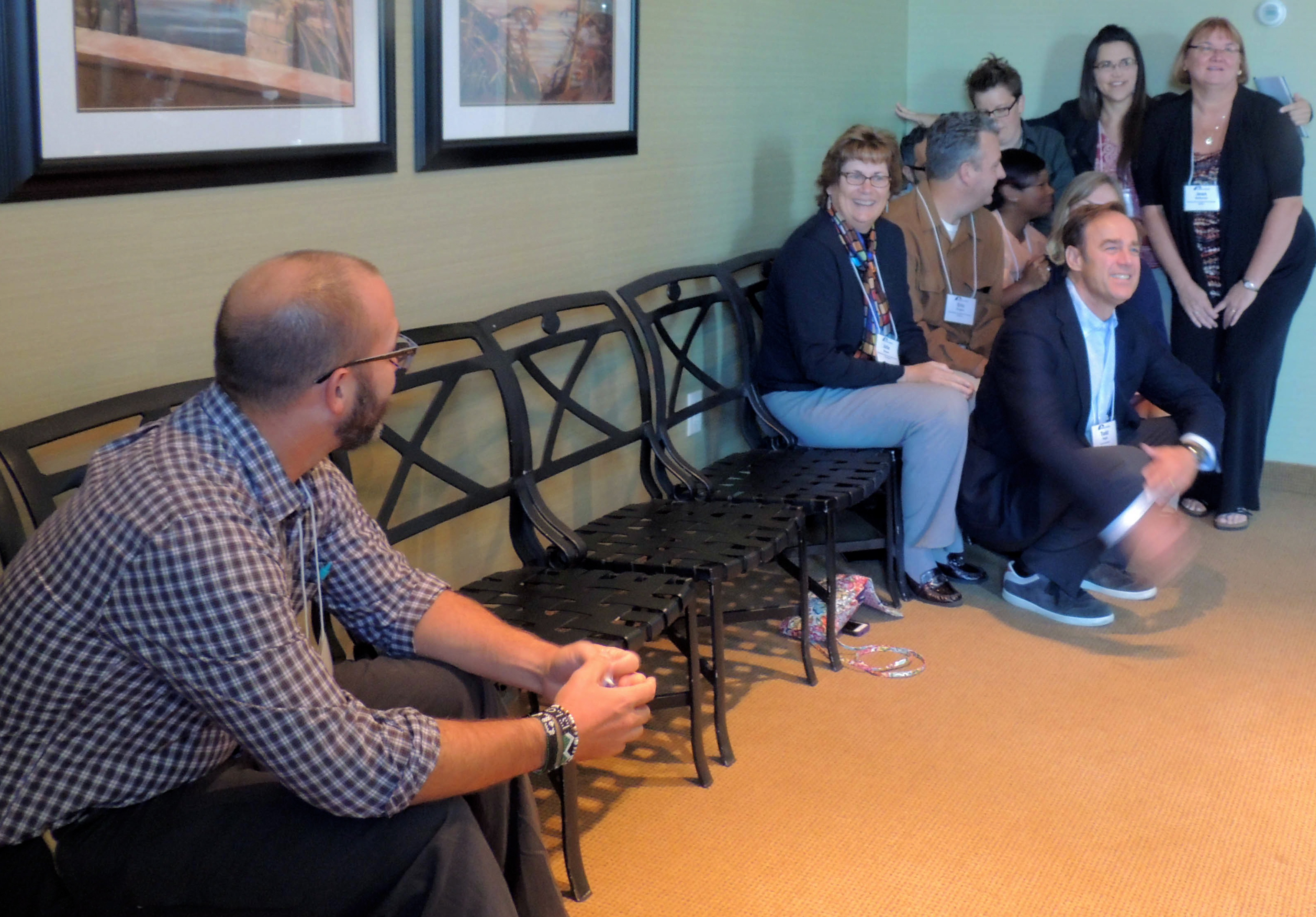 Workshop participants partake in the 10 chairs exercise during The Founder's Network for Smart Growth and Livable Communities workshop