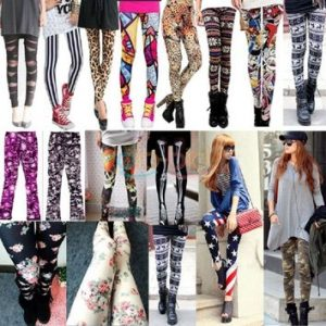 multicolored neon and other colored leggings in varied designs