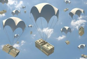 Money falling from sky in parachutes