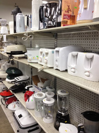 Rows of small appliances in a discount store