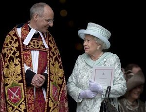 Queen Elizabeth following an Anglican service celebrating her Golden Jubilee