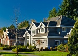 a row of upscale suburban homes