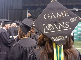 student wearing mortar board that says, Game of Loans