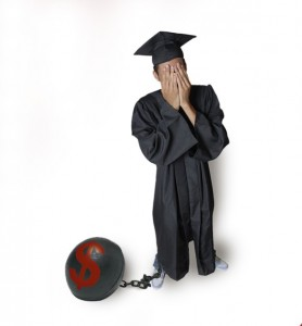 ball and chain attached to a man with robe and mortar board