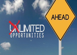 """Road sign saying unlimited possibilities with the """"un"""" crossed out with big, red """"x"""""""