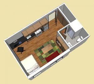 a micro apartment floor plan