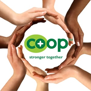 Renaissance Cooperative image with hands together holding up the Co-op