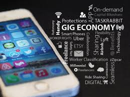 gig economy graphic with cell and word art