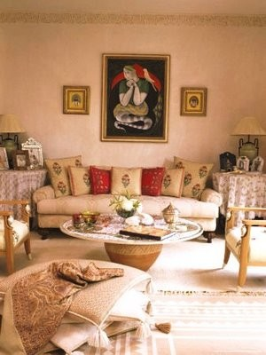 living room in middle-class home in North India