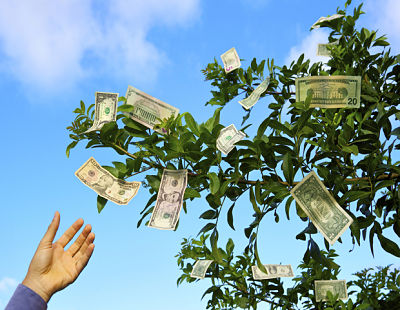 Picture of a tree with money instead of leaves