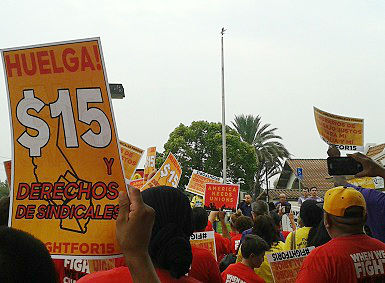 Group picketing for a living wage at a McDonalds in Silicon Valley