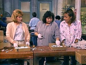 Roseanne at work in a factory